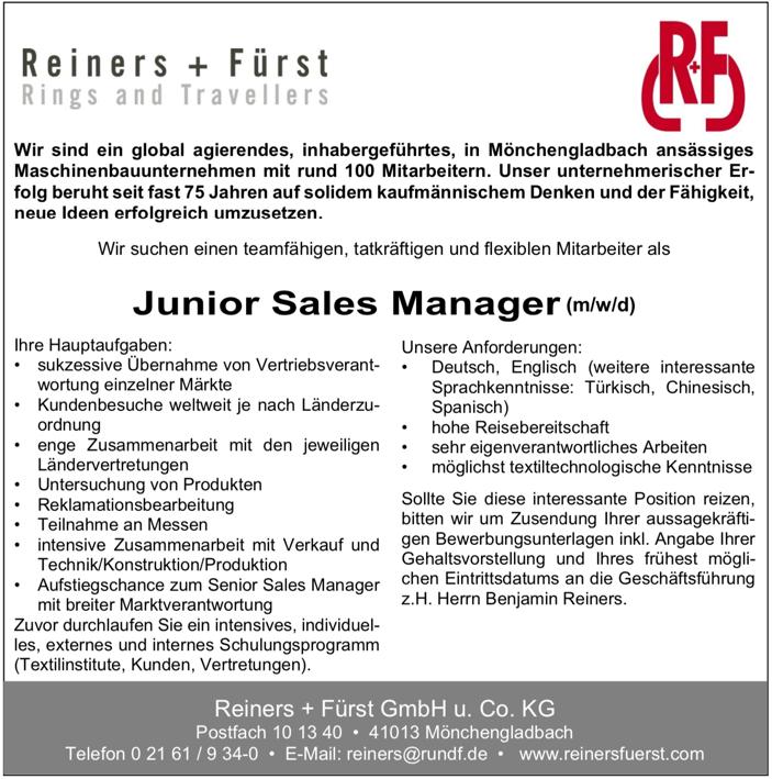Junior Sales Manager (m/w/d)