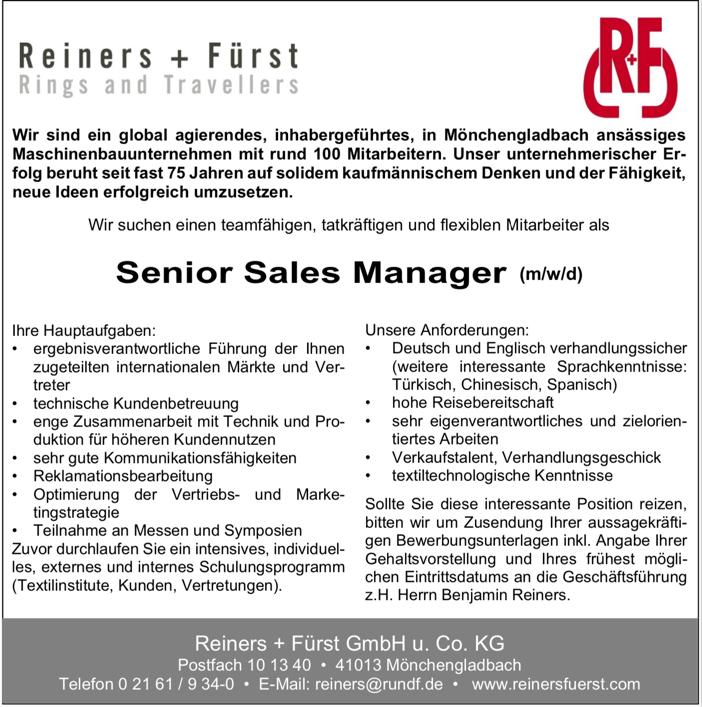 Senior Sales Manager (m/w/d)