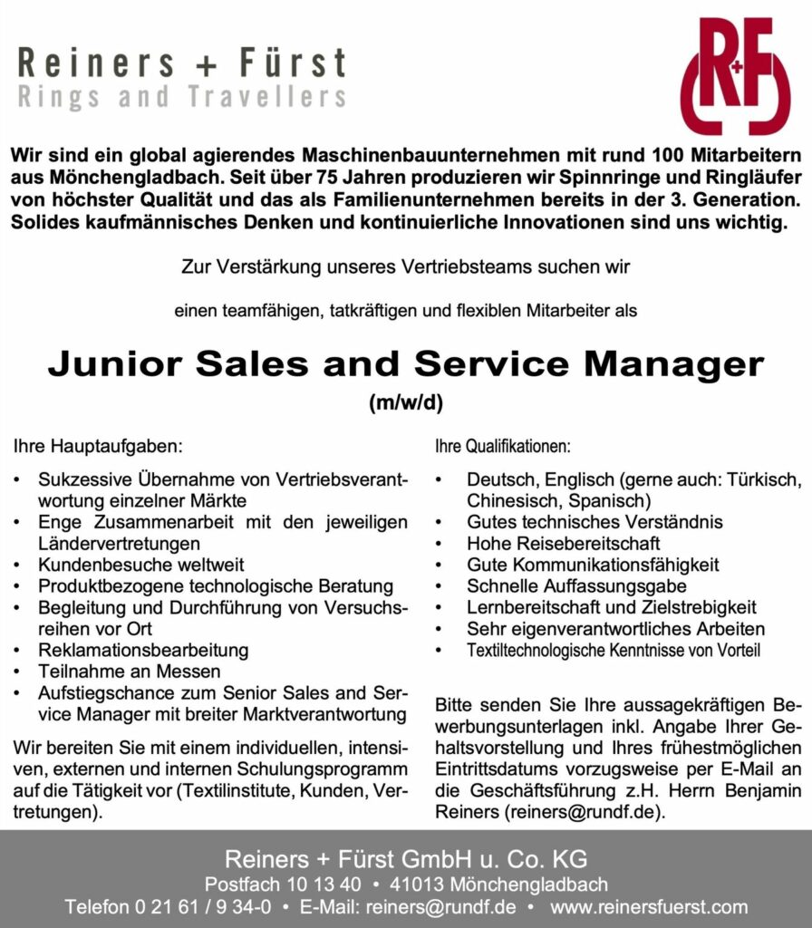 Junior Sales and Service Manager (m/w/d)